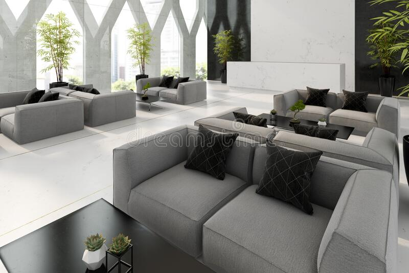 Interior of hotel and spa reception 3D illustration stock image