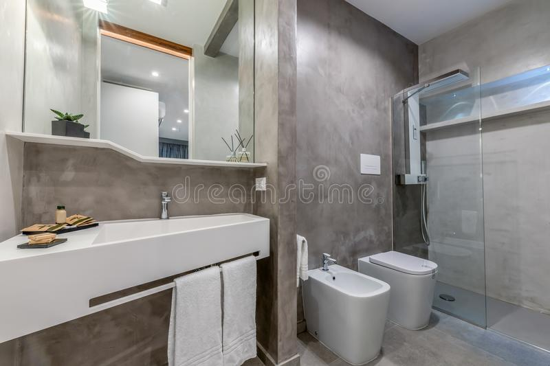 Interior of hotel toilet stock photography