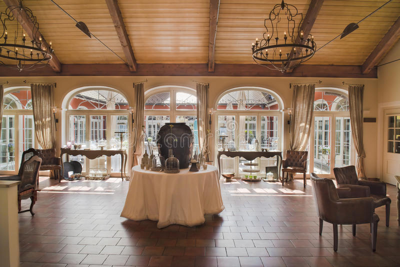 Interior provencal Hotel. Entrence hall of luxury Hotel Villino in Lindau on Lake Constance (Country style stock image
