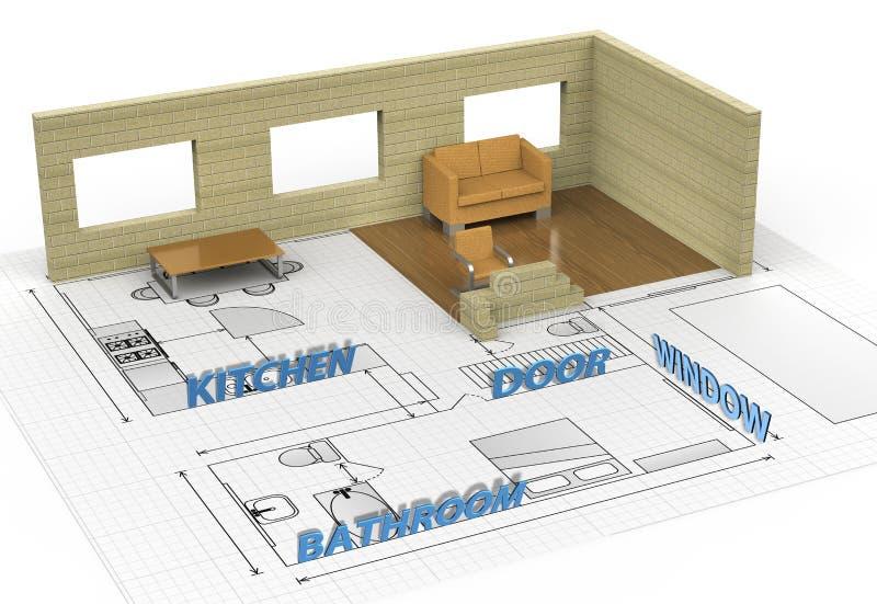 Download Interior house stock illustration. Image of beam, demolished - 21278427