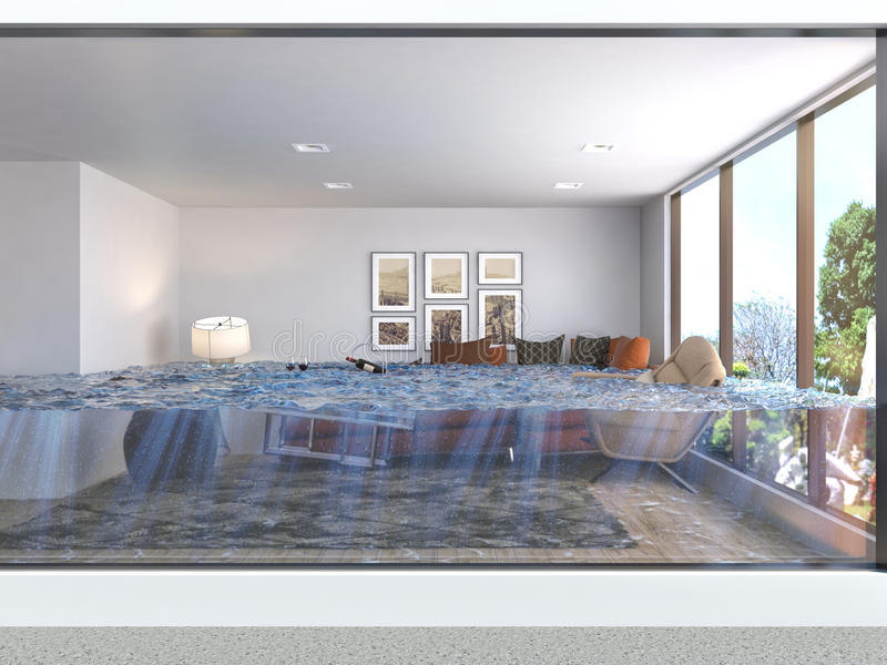 Interior of the house flooded with water. 3d illustration vector illustration