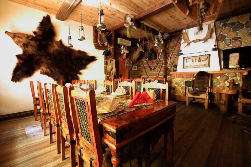 Interior of hunter s house royalty free stock photo