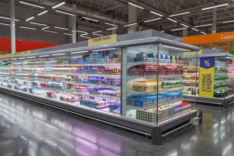 Interior of the hypermarket Lenta. Samara, Russia - June 29, 2018: Interior of the hypermarket Lenta royalty free stock image