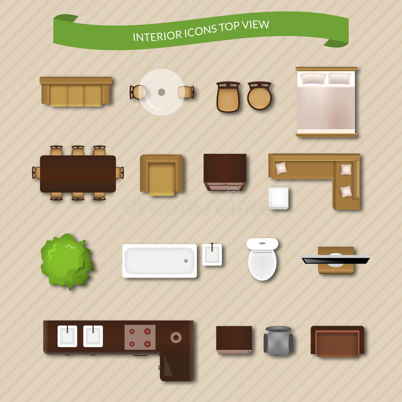 Interior Icons Top View stock illustration