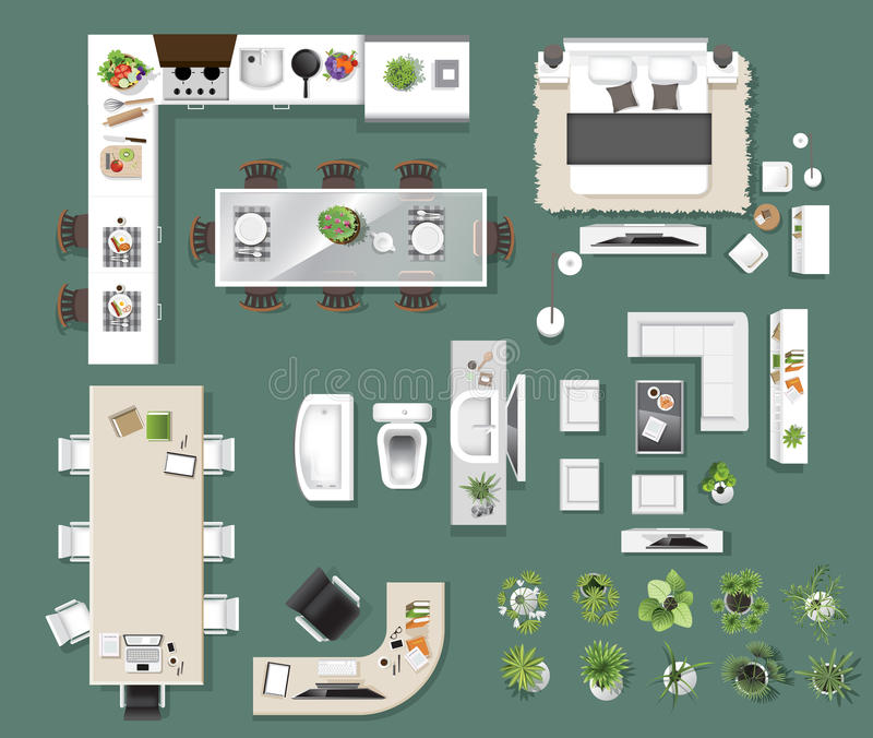 Interior icons top view, tree ,furniture, bed,sofa, armchair royalty free illustration