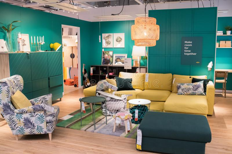 Interior of an Ikea store. Burbank, CA: May 4, 2018: Interior of an Ikea store in Burbank, CA. The Burbank Ikea is the largest Ikea in the United States of royalty free stock photos