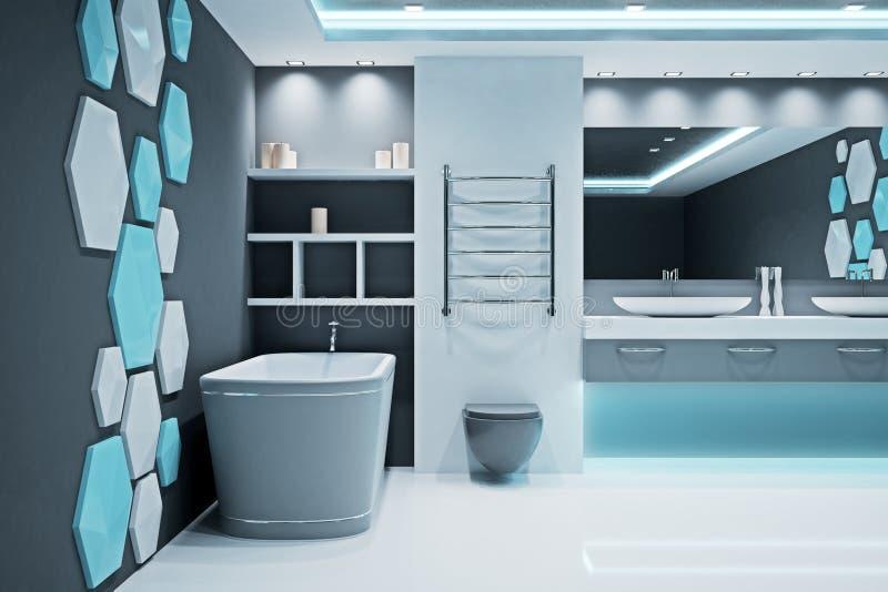 Interior iluminado contemporáneo del cuarto de baño stock de ilustración