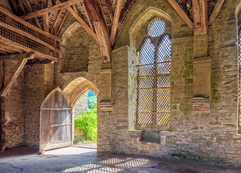 The Great Hall Doorway, Stokesay Castle, Shropshire, England. stock image