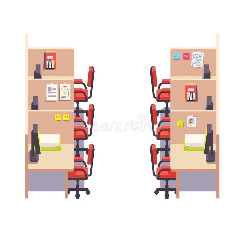 Interior incorporado vazio do espaço de trabalho do escritório do compartimento ilustração royalty free