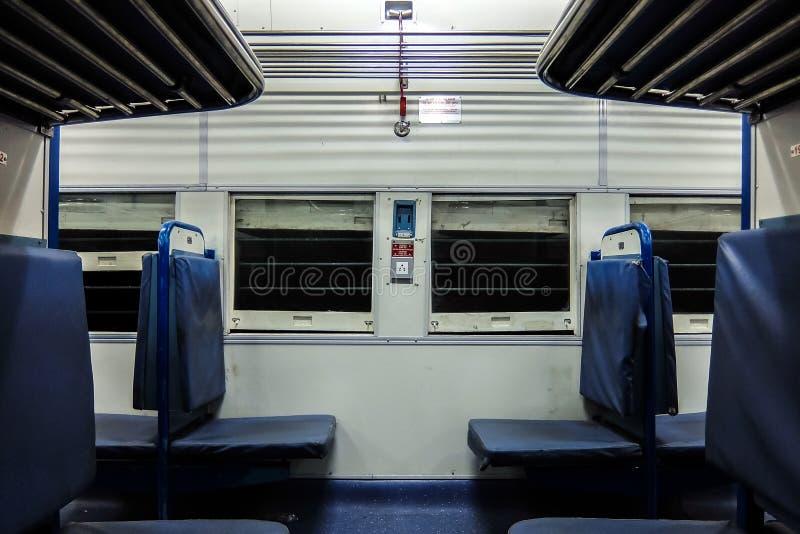 Interior indio del tren de pasajeros Nuevo coche general imagenes de archivo