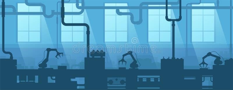 Interior industrial de la fábrica, planta Empresa de la industria de la silueta Fabricación 4 stock de ilustración