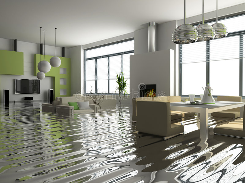 Interior in Insurance case. Modern interior with stair under the water(3D