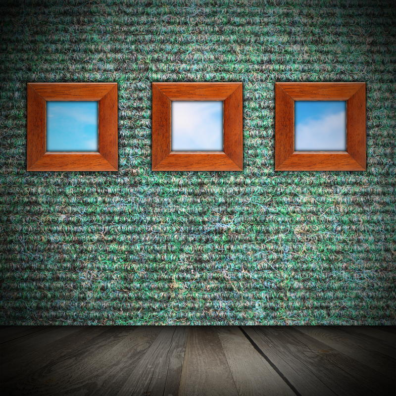 Interior interesting backdrop. Green finished wall with wooden frames as windows stock image