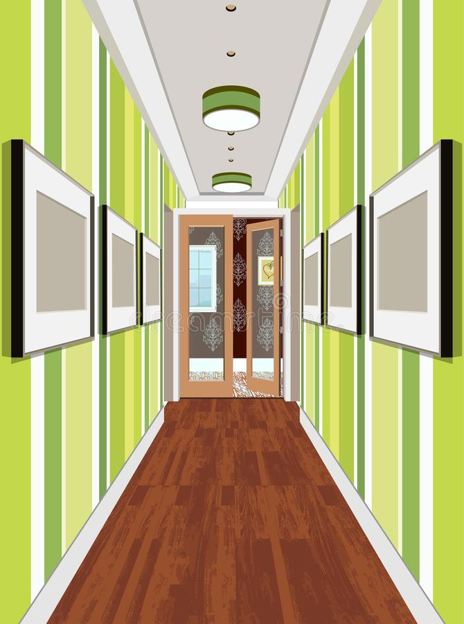 Download Interior Of An Internal Corridor. Design Of An Old Corridor.  Hallway Illustration.