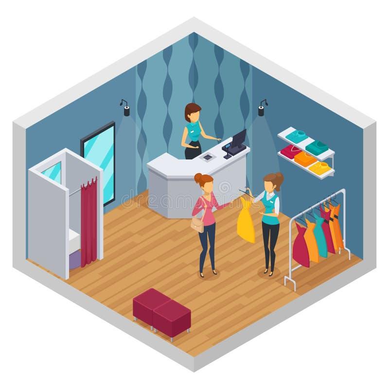 Interior isométrico coloreado de la tienda que intenta libre illustration