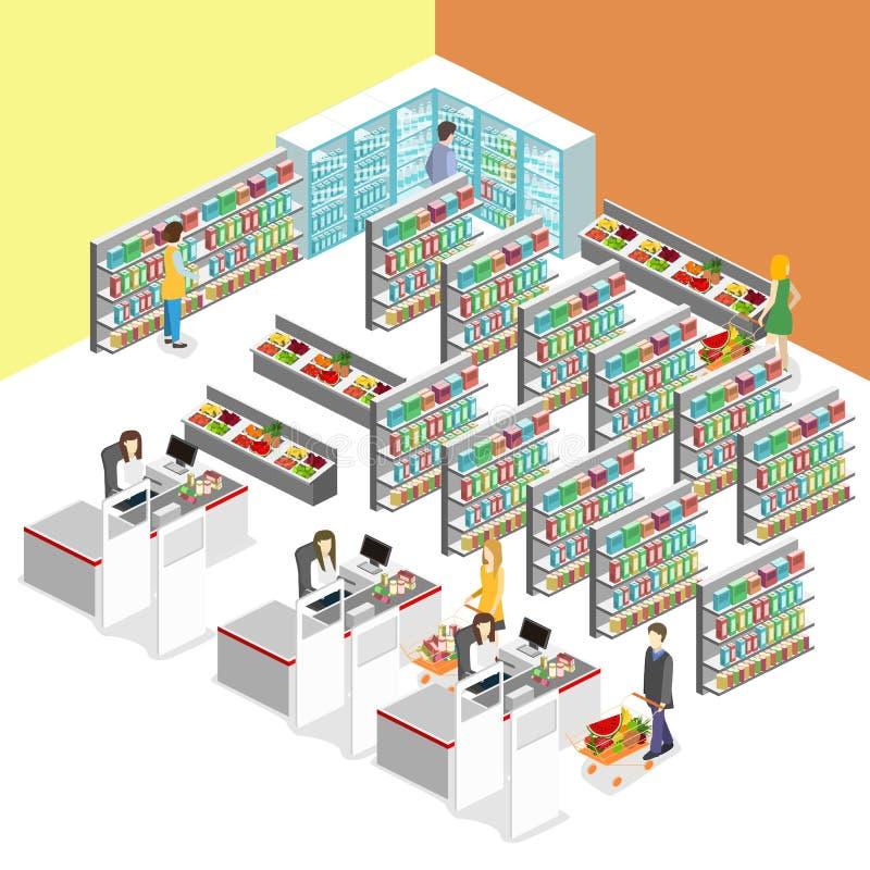 Interior isométrico da mercearia ilustração do vetor