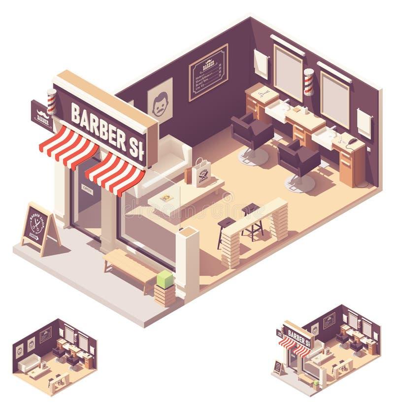 Interior isométrico de la barbería del vector libre illustration