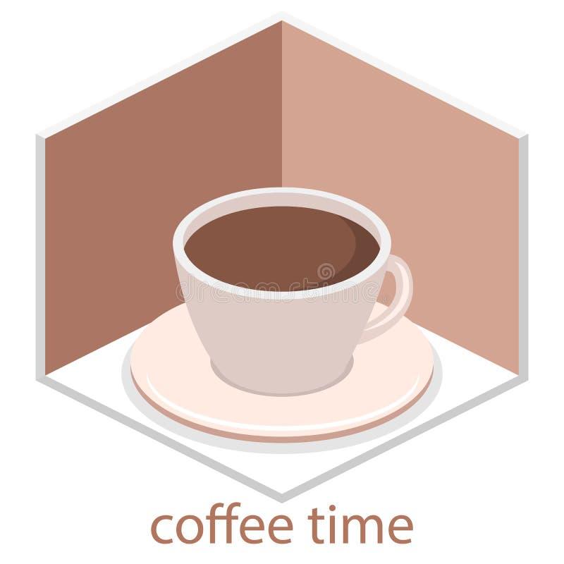 Interior isométrico de la cafetería café interior o restaurante del diseño isométrico plano 3D La gente se sienta en las tablas y libre illustration