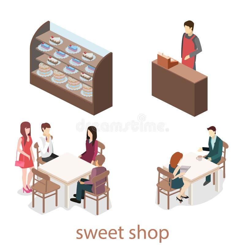 Interior isométrico de la dulce-tienda La gente se sienta en la tabla y la consumición libre illustration