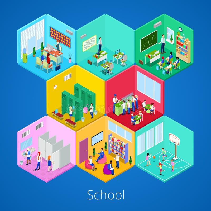 Interior isométrico de la escuela con la sala de conferencias, la biblioteca, el comedor y la sala de clase libre illustration