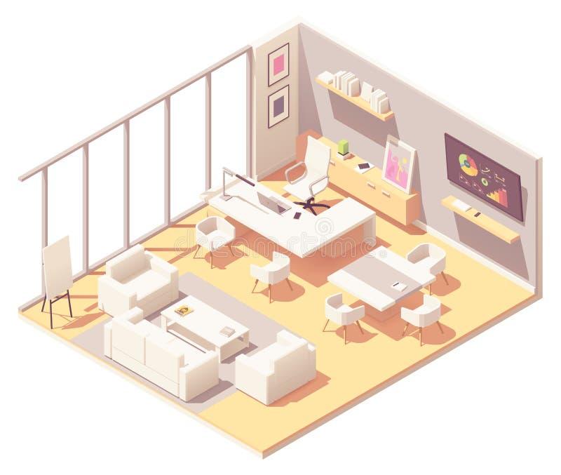 Interior isométrico de la oficina del CEO del vector libre illustration