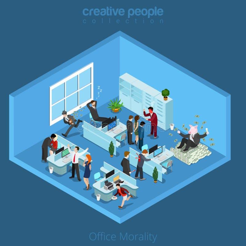 Interior isométrico de la oficina del negocio plano 3d stock de ilustración