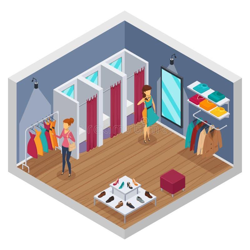 Interior isométrico de la tienda que intenta stock de ilustración