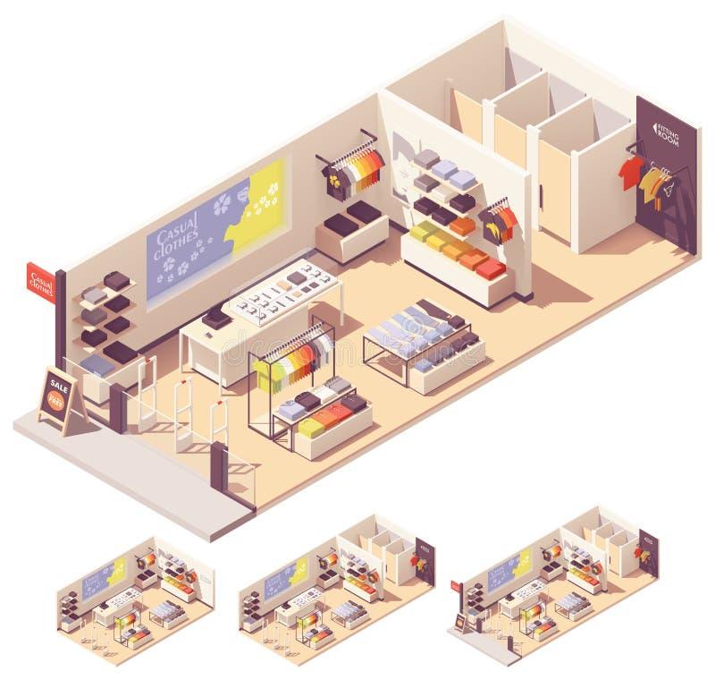 Interior isométrico de la tienda de ropa del vector stock de ilustración