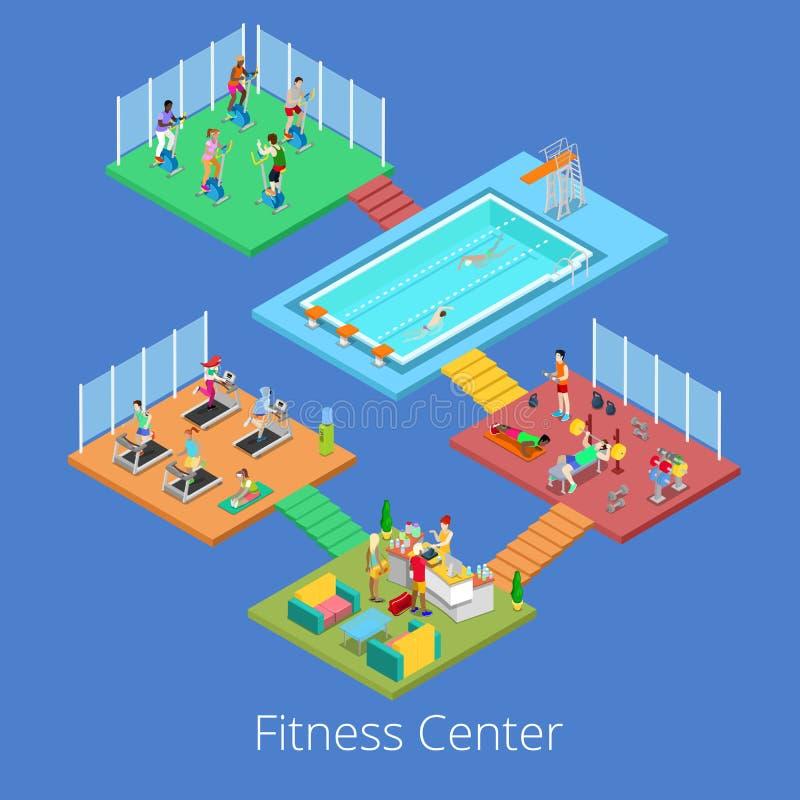 Interior isométrico del centro de deporte del club de fitness del gimnasio con la piscina cardiia del sitio, del gimnasio y de ag libre illustration