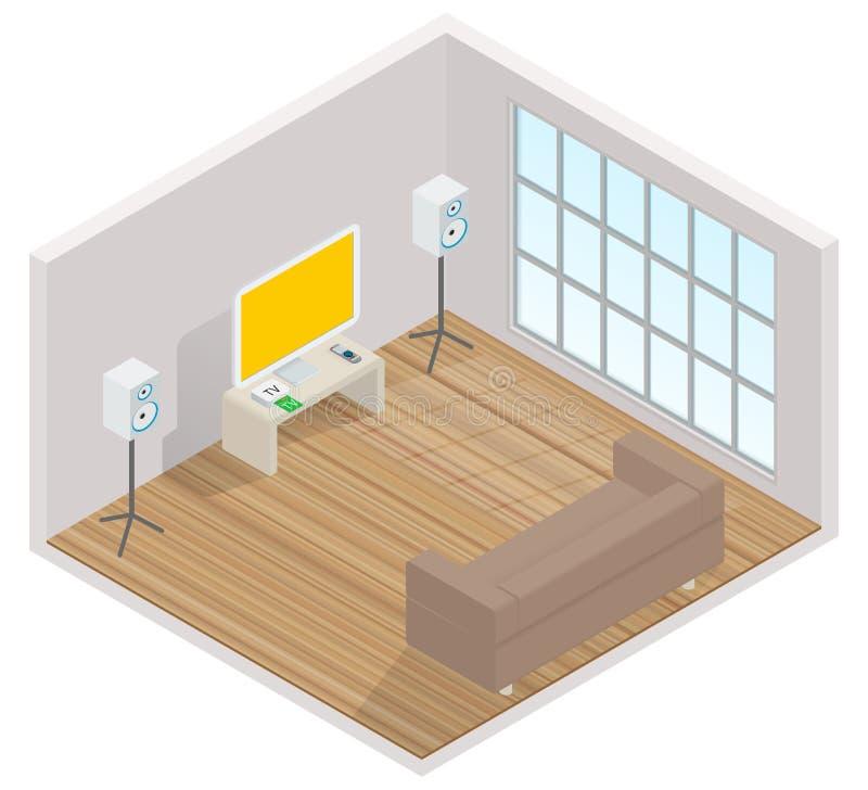 Interior isométrico del cuarto con una TV libre illustration
