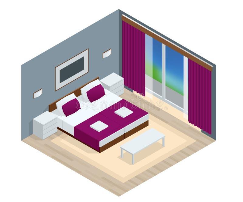 Interior isométrico del dormitorio Interior de un nuevo apartamento moderno del hotel stock de ilustración