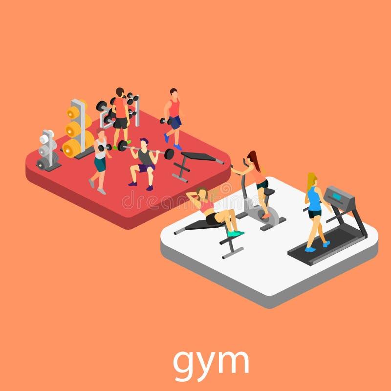 Interior isométrico del gimnasio ilustración del vector