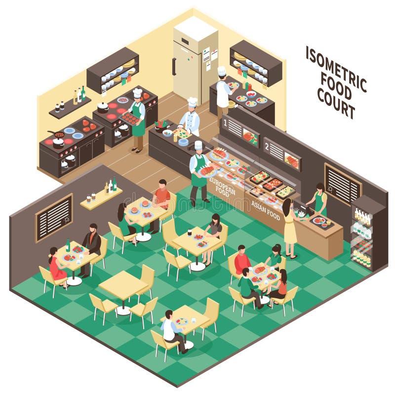 Interior isométrico del restaurante de comida rápida stock de ilustración