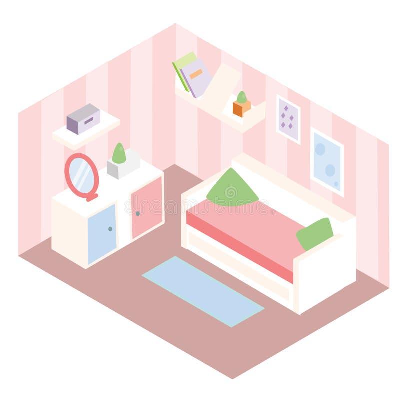 Interior isométrico del sitio Apartamento en muebles rosados del color y blancos Diseño del dormitorio de la muchacha con el sofá stock de ilustración