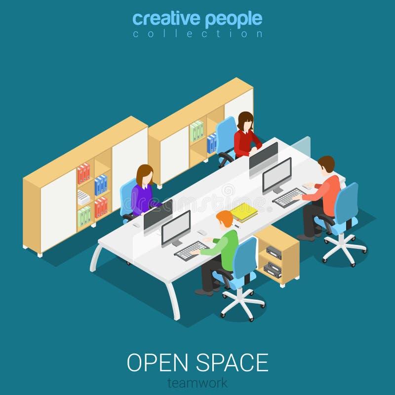 Interior isométrico del vector plano del lugar de trabajo del sitio de espacio abierto de la oficina libre illustration