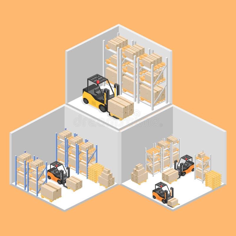 Interior isométrico do armazém As caixas estão nas prateleiras Ilustração 3d lisa ilustração do vetor
