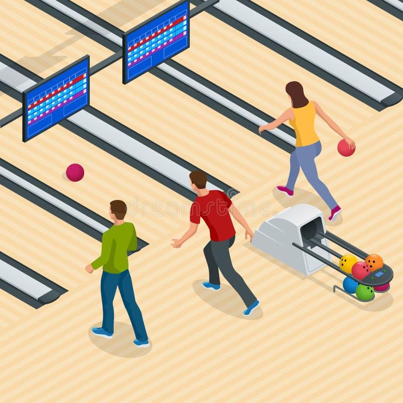 Interior isométrico do centro do boliches com equipamento de jogo Pista de boliches do vetor para o jogo e o partido ilustração stock
