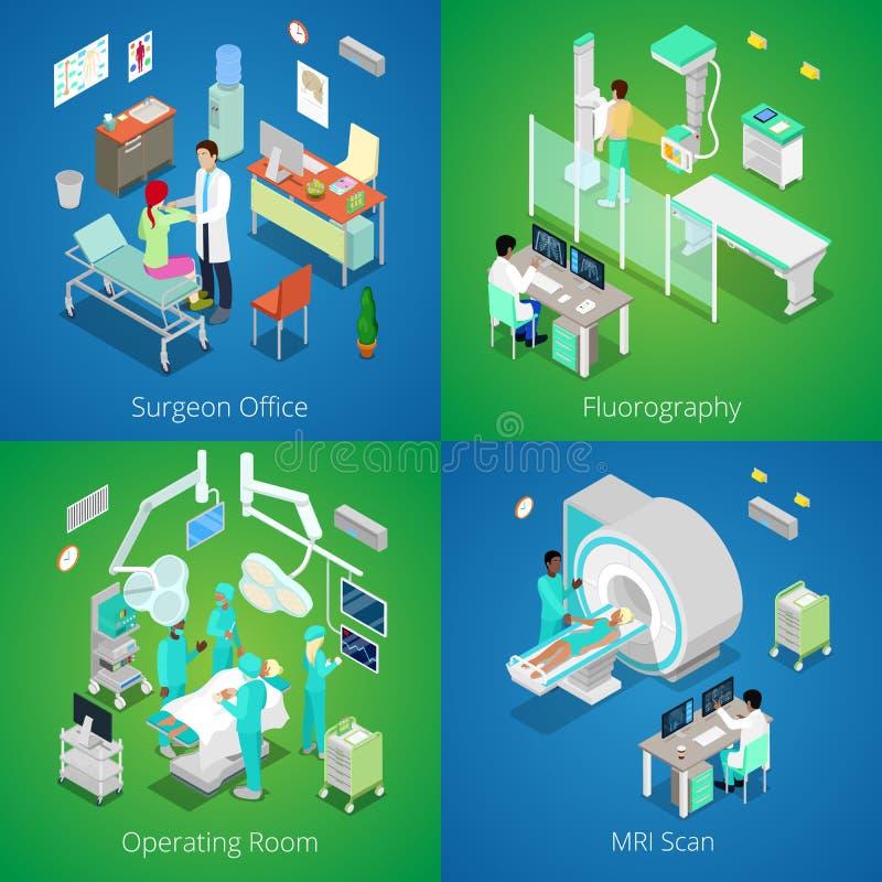 Interior isométrico do hospital Varredura médica de MRI, sala de operações com doutores, processo de Fluorography, cirurgião Offi ilustração stock