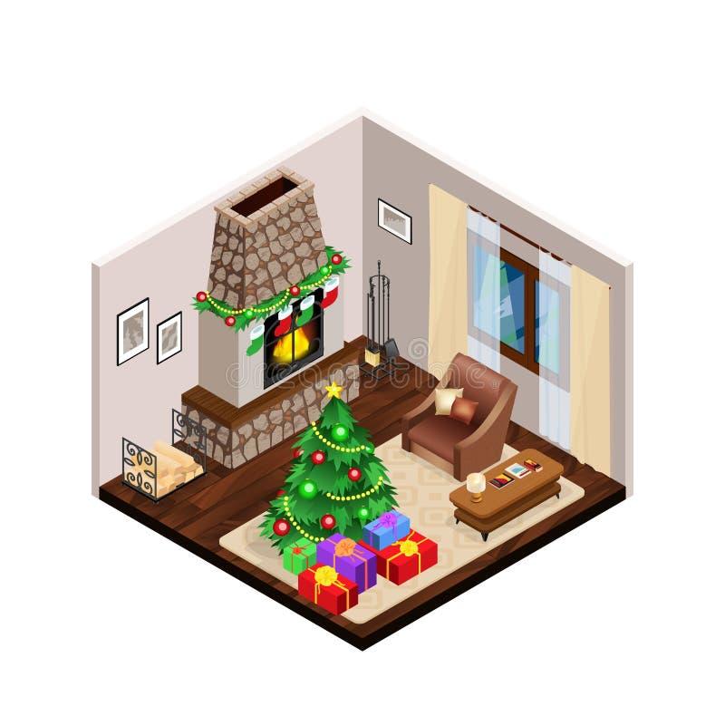 Interior isométrico do Natal da sala de estar com chaminé ilustração royalty free