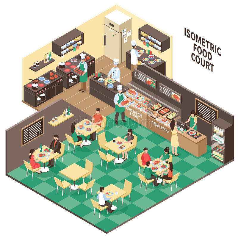 Interior isométrico do restaurante de Fastfood ilustração stock