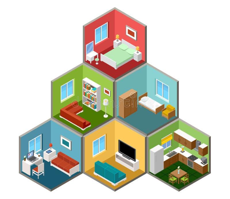 Interior isométrico plano de la casa 3d ilustración del vector