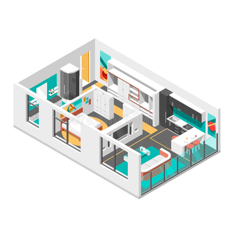 Interior isometric design with living room vector illustration royalty free illustration