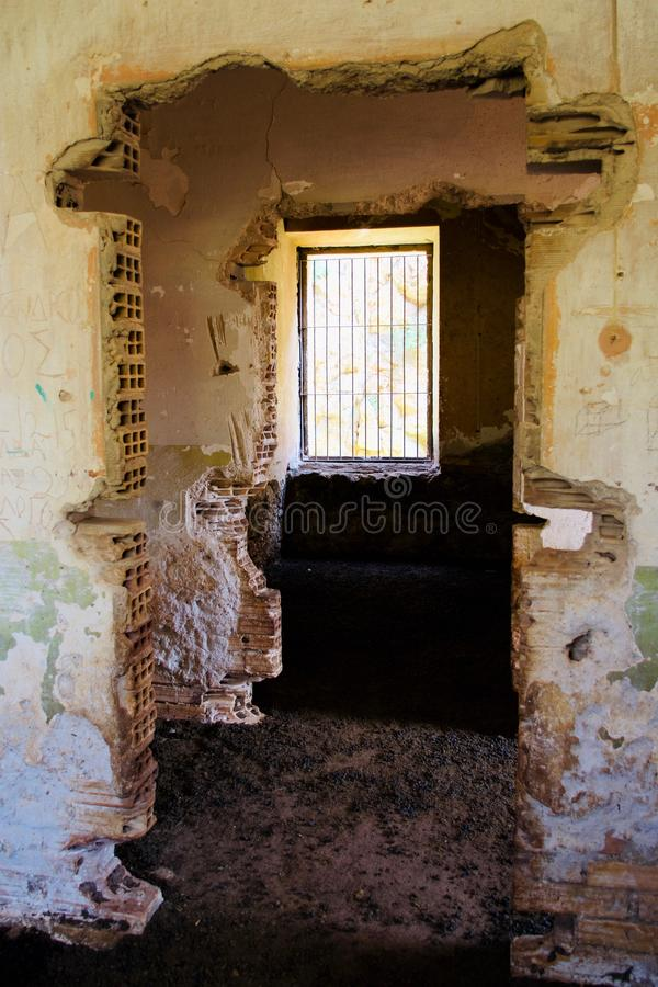 Interior Italian Military Structure, Cape of Diaporo, Leros, Greece. Inside an old Italian military structure with wall paintings made by stationed German royalty free stock photo