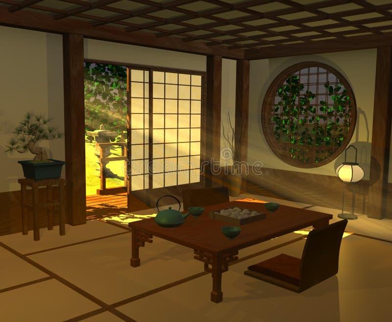 Interior japonês ilustração do vetor
