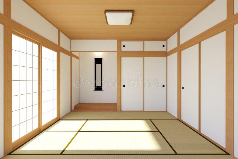 Interior japonês vazio da sala de visitas no projeto tradicional e mínimo ilustração stock