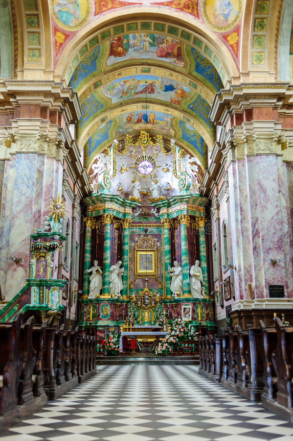 Interior of John Baptist Basilica in Poland royalty free stock photography