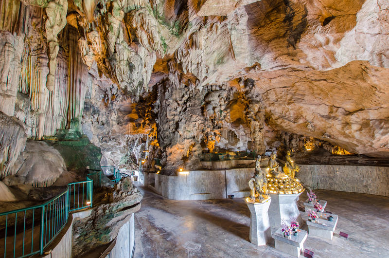 Interior of the Kek Lok Tong which is located at Gunung Rapat in the south of Ipoh. Beautiful limestone formations are the main a stock photo