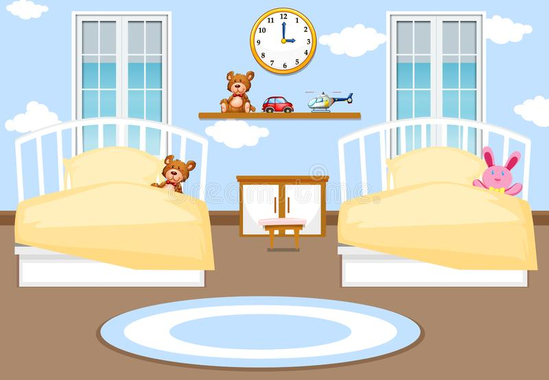 Interior kids bedroom background stock illustration