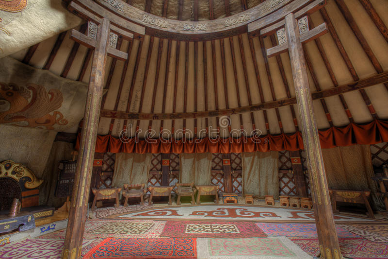 Interior of King's grand Ger in Mongolia. View of interior of the King's grand ger in Mongolia royalty free stock photography