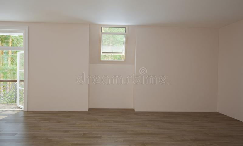 Interior of kitchen and living room before finishing. stock image